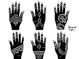 Tattoo Schablonen 6 Stück Set Henna Designs zur einmaligen Verwendung für Hände Set Tigris 6