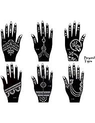 Tattoo Lot de 6pochoirs Kit Henna Designs Usage Unique pour les mains Tigris 6