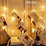 KNONEW LED Foto Clip String Lights - 20 Foto Clips 2.4M Batterie angetriebene LED Bild Lichter für Dekoration Hanging Foto, Notizen, Artwork (warm-weiß))