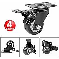 4pieza ruedas con freno Ruedas de transporte giro ruedas ruedas para muebles (unidad rollo goma 50mm de diámetro, Capacidad de Carga 50kg por rollo, para uso doméstico y aplicaciones industriales.