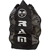 Ram Rugby Pro Breathable Ball Bag - Black - Holds 13 Rugby Balls - Shoulder Straps - Padding - Strength
