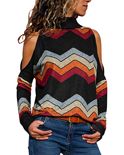 Damen Bluse Lange Ärmel Schulterfreie Hemd Hoher Kragen Tops Gestreift Bunt Chiffon Geometrie Spleißen T-Shirt Sweatshirt Irregulär (Schwarz, XL)