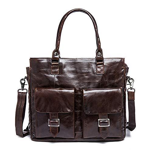 Mens Handmade Vintage Echtleder Aktentasche Tasche 15 Zoll Laptop Messenger Bag Schultertasche Handtasche Geschenk für Vater,Brown-OneSize - Zwickel-aktentasche Aus Leder
