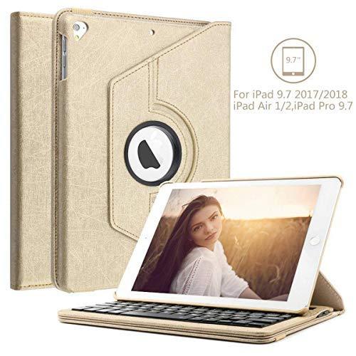 BORIYUAN Bluetooth Tastatur Hülle für iPad 2018 - iPad 2017 - iPad Air 2/1 - iPad Pro 9.7-360 Grad drehbar Ständer Schutzhülle, mit Deutsches Layout QWERTZ für iPad 9.7, Gold - Ipad-tastatur Mit Usb-anschluss