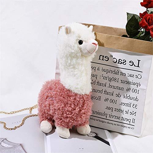 Lidoudou Niedliche Mädchen kleine Tasche Herbst und Winter Neue Kette Plüsch Alpaka Schulter Umhängetasche rosa 26cmX36cm Material Wolle -