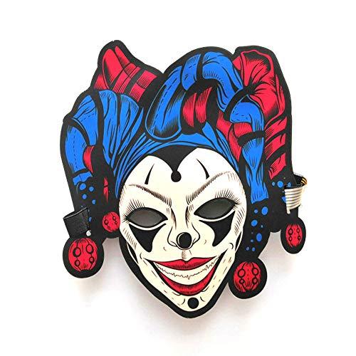 (WANGXN Blinkende Maske Glühen Gruseliger Clown Musik Rave Party Weihnachte Halloween LED Maske,Color1)