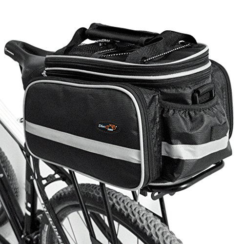 Disc-nan Bolsa alforja para bicicleta con funda impermeable, negro