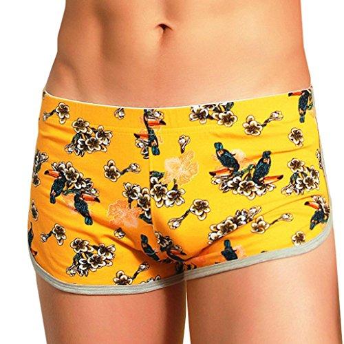 Herren Boxershorts,Beikoard Männer Mode Sexy Unterwäsche Cute Shorts Unterhose Cartoon Prints Weiche Baumwolle Slips Boxers Briefs (2XL, Gelb) (Print Slips)