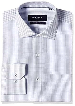 JadeBlue Men's Formal Shirt (1116203917PTJ2_17PT_38_White and Blue)