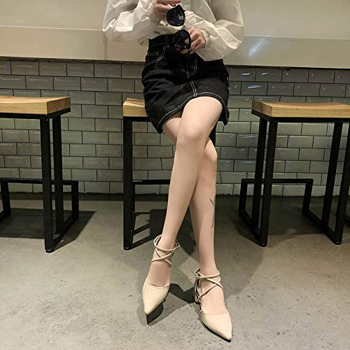Buckle Mule Sandals (Uhrtimee Baotou Sandals Female 2019 New Wild Korean Version of The Thick with Students Fairy Wind Gentle Shoes Pointed Evening Shoes, 37, Beige)