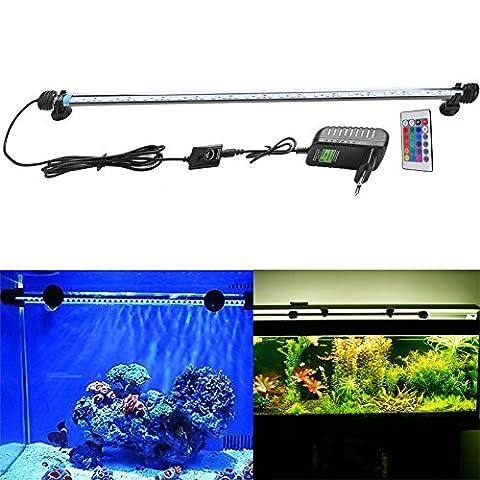 SUBOSI 62CM Aquarium Beleuchtung Licht Unterwasser RGB Fisch Tank Lichter Aquariumleuchte 33LED SMD5050 Wasserdicht IP68 8W Aquarienbeleuchtung mit Fernbedienung