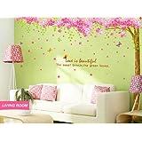 Pink cherry Blossom-Decalcomania da muro Adesivo da parete per cameretta, in vinile, da parete, motivo albero di fiori Adesivo decalcomania per la camera dei bambini, motivo: Fioritura