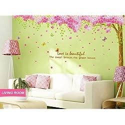 Color cerezo etiqueta de la pared, cuarto de etiqueta de la pared decoración del árbol, Árbol de la pared calcomanía de vinilo adhesivo decorativo, diseño de flor TecGadgets dormitorio infantil #5