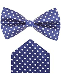 Red Eye Navy blue polka print bow tie with pocket square combo set for Men's