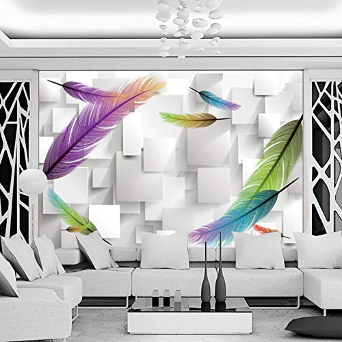 Fototapete 3D Effekt Individuelle Fototapeten 3D Stereoscopic Square Box Gitter Mode Feder Moderne Wohnzimmer Tv Hintergrund Wandbild Tapete 430X300 Cm