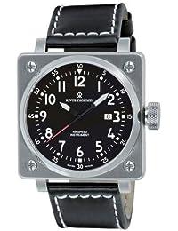 Revue Thommen 16576.2137 - Reloj analógico automático para hombre con correa de piel, color negro