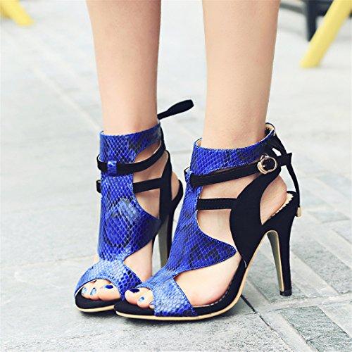YE Damen Peep Toe High Heels Cut Out Sommer Sandalen Ankle Boots mit Schnürung und Schnalle 10cm Absatz Schuhe Schwarz