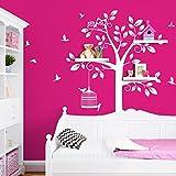 Wandaro Wandtattoo Baum Vögel I weiß (BXH) 108 x 160 cm I Kinderzimmer Aufkleber selbstklebend Wandaufkleber Wandsticker Sticker Wandtatoo W3281