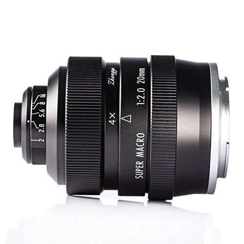 Zhongyi 20mm F2 Makro Objektiv manuelles Vollformat 4X-4.5X micro lens für SONY NEX / E Mount Kamera mit TARION Tasche