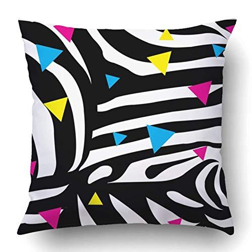 Not afraid Throw Pillow Covers Black Neon Zebra White Hipster Nineties Wild Girl Circus Young Eighties Polyester 18 X 18 inch Square Hidden Zipper Decorative Pillowcase Wild One Black Zebra
