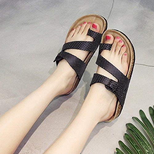 Estate Sandali Pantofole femminili in sughero Pantofole fredde estive Pantofole piatte Coppie scarpe da spiaggia 4 colori Colore / formato facoltativo 1004