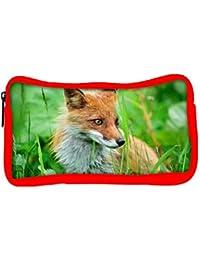 Snoogg Eco Friendly Canvas Small Fox Designer Student Pen Pencil Case Coin Purse Pouch Cosmetic Makeup Bag