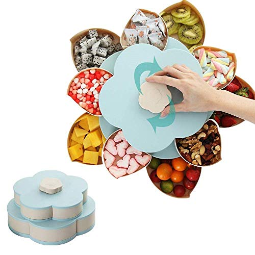 AoJuy Snack Box Candy Dish Petal Rotating Dried Fruit Plate Bowls Snacks Storage Tray for Christmas Party Home Decor Top Candy Dish