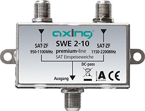 Axing SWE 2-10 SAT-Einspeiseweiche für DVB-S Modulator SKM-1-07 zum Zusammenschalten von 2 SAT-Signalen Metall Video-signal Combiner