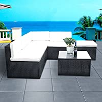 PananaHome 5 Seater Rattan Outdoor Garden Furniture Set Corner Sofa Set Table and Chairs Conservatory Patio Black with Cream Cushions