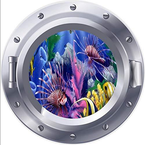 PANDABOOM Coral Reef Fish 3D Bullauge Fenster Wandaufkleber Aufkleber Selbstklebende PVC Wasserdichte Aufkleber Wandbild Für Kinderzimmer Dekoration 45X45Cm