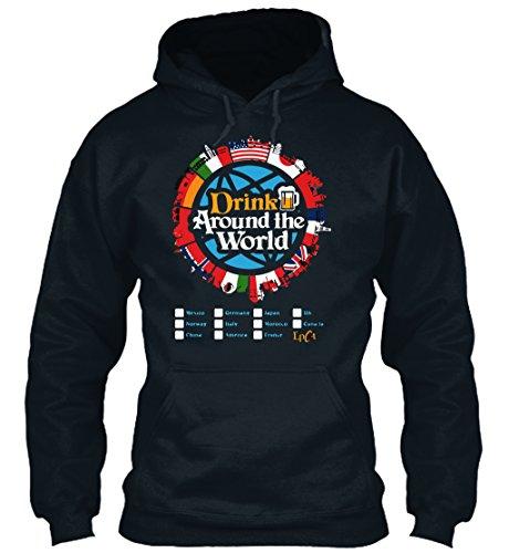 teespring Men's Novelty Slogan Hoodie - Drink Around The World