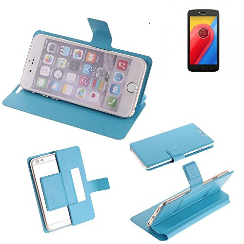 K-S-Trade Flipcover für Lenovo Moto C LTE Schutz Hülle Schutzhülle Flip Cover Handy case Smartphone Handyhülle blau