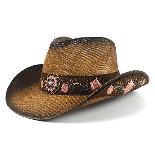 (DIMDIM MYCHOME Mode Stroh für Frauen Western Cowboy Hut Sommer Elegante Dame Hüte (Color : Khkai, Size : 57-58cm))