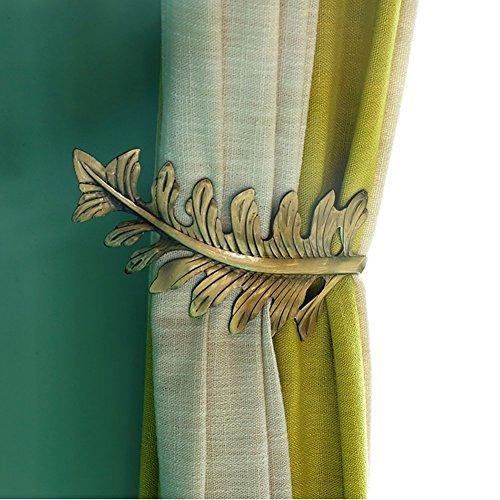 Chictie europäischen Leaf gardinenhalterungen, Dekorative Wandhaken Aufhänger für Drapes Halter Fenster Behandlung Hardware, Set 2 Art Deco 15cm Length; 6cm Width Bronze (Fenster Schal Bronze)