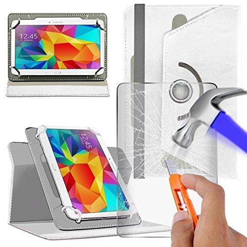 """Preisvergleich Produktbild fürN4U Online - Various Buntglas schutzhülle & Rotierend Pu Leder Schutzhülle For Acer Iconia One 10"""" (B3-A10) Tablette - Weiß"""