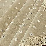 Qchengsan Tovaglia in Cotone Lino Pizzo tovaglia Rettangolare Tavolo di Stile Semplice Naturale Multiuso per Interni e Esterni, White Chrysanthemum, 55'' Wide*80'' Length (140 * 203 CM)