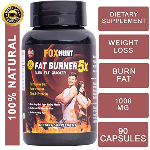 FOX HUNT Fat Burner 5X Capsules Supplement for fast fat burn & weight loss With Green Tea, L-Carnitine, CLA, Green Coffee Bean & Garcinia Cambogia Extract - 1000mg (90 Capsules)