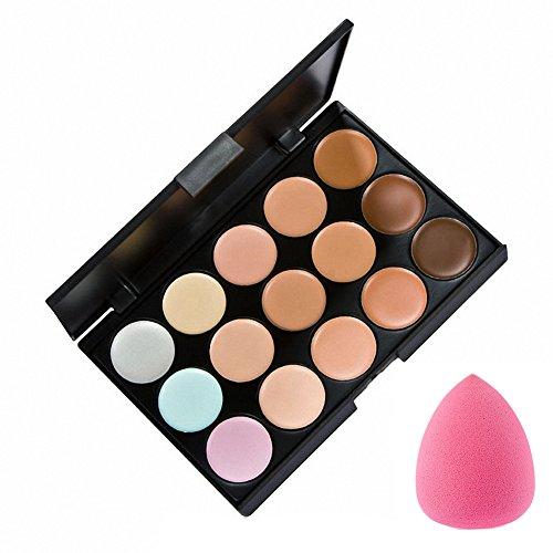 La Cabina Set 15 Couleurs Palette de Maquillage Correcteur + 1 PC Éponge Houppe à Poudre en Forme de Goutte d'Eau