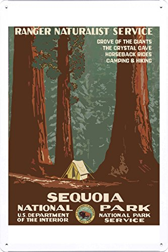Tin Sign of Retro Vintage Travel Poster Sequoia National Park (20x30cm) By Nature Scene Painting
