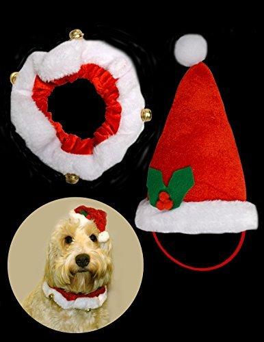 Imagen de disfraz para perro o gato, con collar con campana y gorro de papá noel