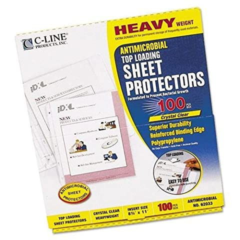 C-Cline 62033 Hvywt Poly Sht Protector, Antimicrobial, Clear, Top-Loading, 11 x 8 1/2, 100/BX by C-Cline