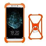 Lankashi Orange Silikon Schutz Tasche Hülle Case Ring Halter Ständ Cover Etui Handyhülle Handytasche Für Alcatel 8050D 9001D 5080X 5070D A5 LED A3 XL A7 U5 3C 3V 3X 1X 1C 5086 5044D 5047D Universal