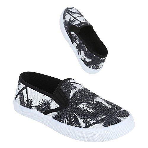 Ital-Design, manivelle de V09, Chaussures basses moderne Chaussons Noir - Noir