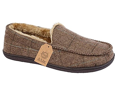 Mens New Hampshire Faux Suede Fur Lined Moccasin Slippers Shoes Size 7-12 (UK 8, Brown Tweed)