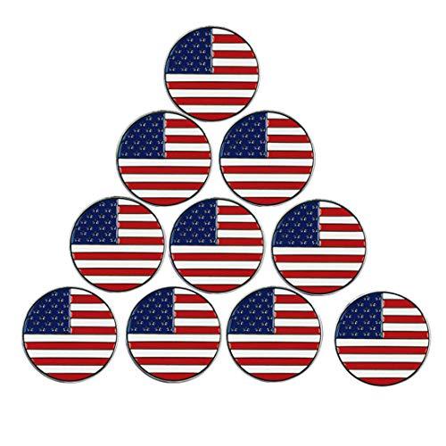 PINMEI Golfball-Marker, Verschiedene Muster, weiche Emaille-Technik, 10 Stück, US-Flagge -
