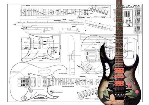 Plan de Ibanez Jem guitarra eléctrica–escala completa impresión