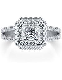Solitario Halo 1,75 CT corte brillante diamante redondo princesa 14 K oro blanco anillo de compromiso, boda, todos…