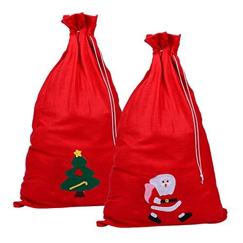 c9bb2ccbd3d554 2 Stück Weihnachtsbeutel Weihnachten Kordelzugsäckchen für Strumpf  Geschenke und Geschenke, 70 mal 50 cm,