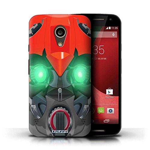 Kobalt® Imprimé Etui / Coque pour Motorola Moto G (2014) / Opta-Bot Rose conception / Série Robots Bumble-Bot Rouge