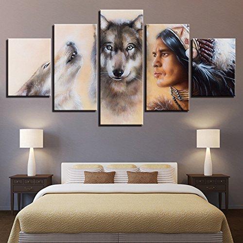 BAIYANGYANG Leinwand HD Druckt Poster Wall Art Modulare Bilder 5 Stück  Indianer Und Wölfe Gemälde Wohnzimmer